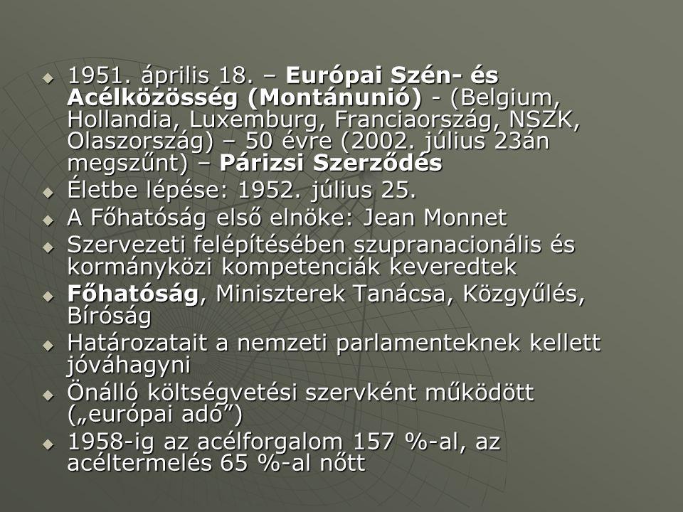  1951. április 18. – Európai Szén- és Acélközösség (Montánunió) - (Belgium, Hollandia, Luxemburg, Franciaország, NSZK, Olaszország) – 50 évre (2002.