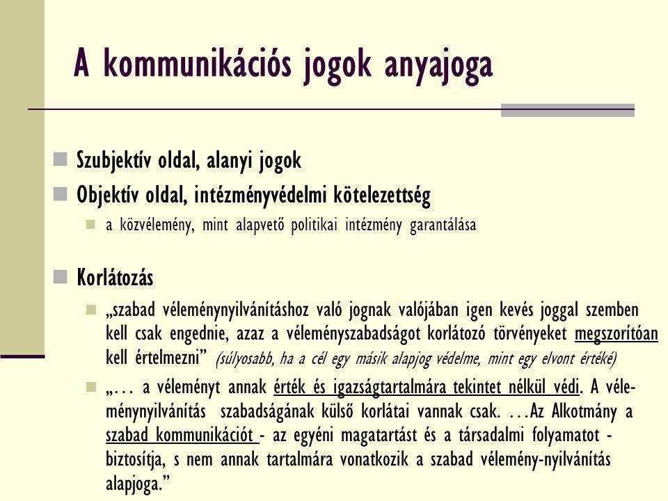 A kommunikációs jogok anyajoga Szubjektív oldal, alanyi jogok Objektív oldal, intézményvédelmi kötelezettség a közvélemény, mint alapvető politikai in