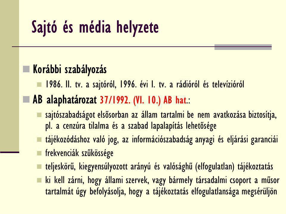 Sajtó és média helyzete Korábbi szabályozás 1986. II. tv. a sajtóról, 1996. évi I. tv. a rádióról és televízióról AB alaphatározat 37/1992. (VI. 10.)