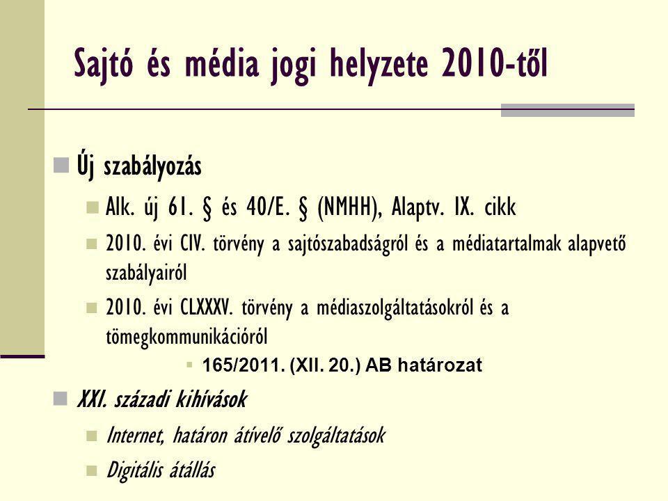 Sajtó és média jogi helyzete 2010-től Új szabályozás Alk. új 61. § és 40/E. § (NMHH), Alaptv. IX. cikk 2010. évi CIV. törvény a sajtószabadságról és a