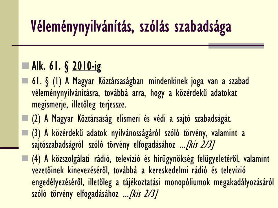 Véleménynyilvánítás, szólás szabadsága Alk. 61. § 2010-ig 61. § (1) A Magyar Köztársaságban mindenkinek joga van a szabad véleménynyilvánításra, továb