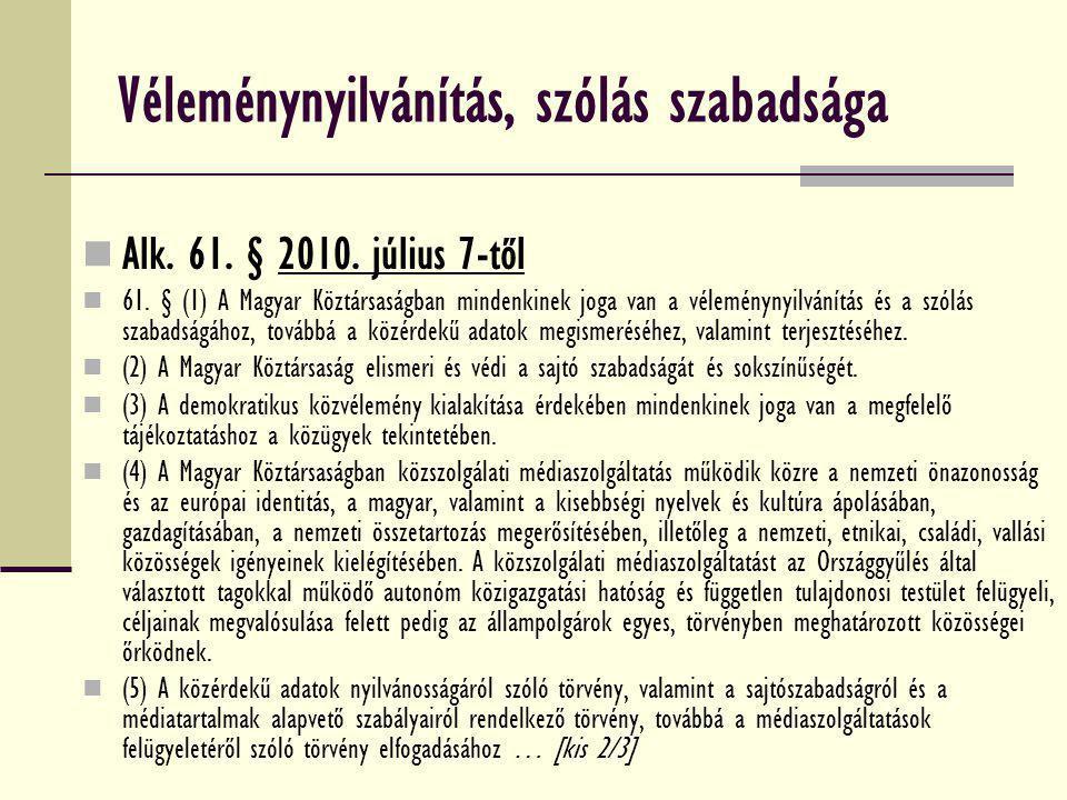 Véleménynyilvánítás, szólás szabadsága Alk. 61. § 2010. július 7-től 61. § (1) A Magyar Köztársaságban mindenkinek joga van a véleménynyilvánítás és a