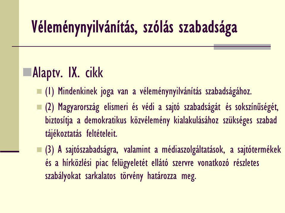 Véleménynyilvánítás, szólás szabadsága Alaptv. IX. cikk (1) Mindenkinek joga van a véleménynyilvánítás szabadságához. (2) Magyarország elismeri és véd