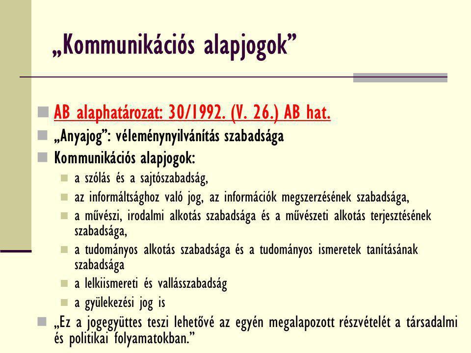 """""""Kommunikációs alapjogok"""" AB alaphatározat: 30/1992. (V. 26.) AB hat. """"Anyajog"""": véleménynyilvánítás szabadsága Kommunikációs alapjogok: a szólás és a"""