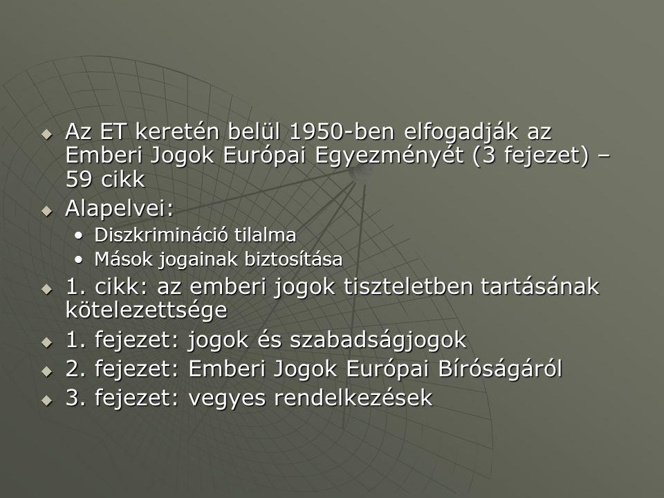  Az ET keretén belül 1950-ben elfogadják az Emberi Jogok Európai Egyezményét (3 fejezet) – 59 cikk  Alapelvei: Diszkrimináció tilalmaDiszkrimináció tilalma Mások jogainak biztosításaMások jogainak biztosítása  1.