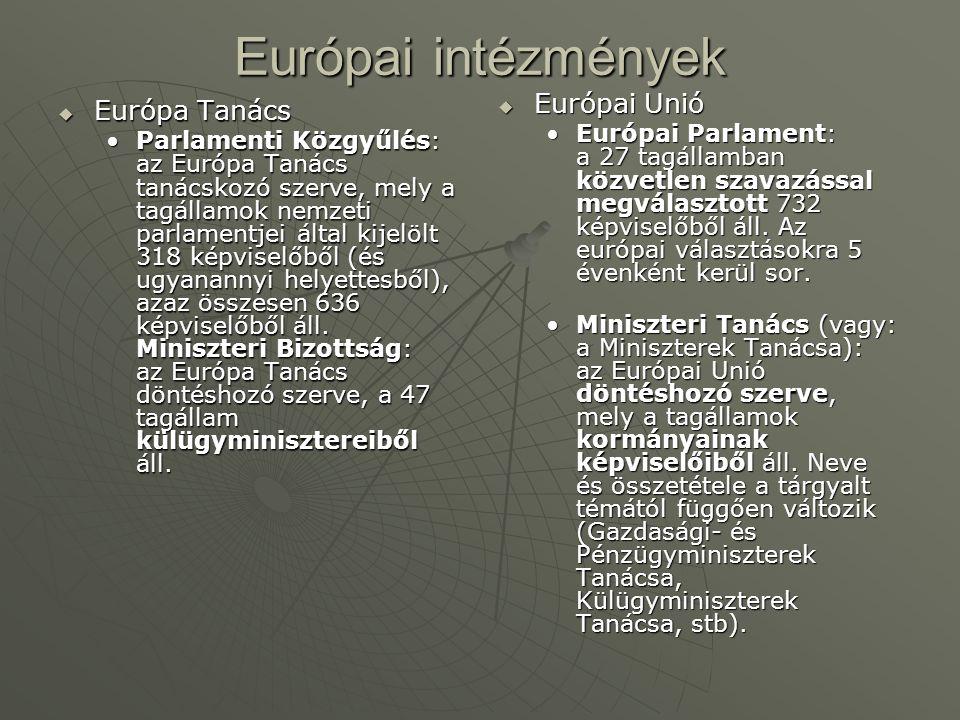 Európai intézmények  Európa Tanács Parlamenti Közgyűlés: az Európa Tanács tanácskozó szerve, mely a tagállamok nemzeti parlamentjei által kijelölt 318 képviselőből (és ugyanannyi helyettesből), azaz összesen 636 képviselőből áll.