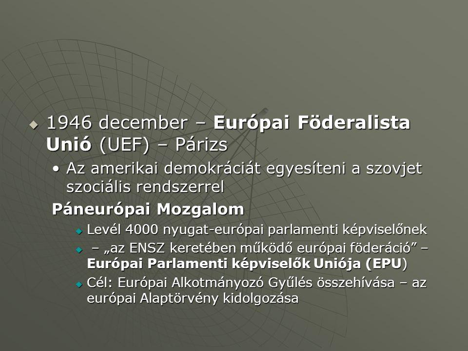 """ 1946 december – Európai Föderalista Unió (UEF) – Párizs Az amerikai demokráciát egyesíteni a szovjet szociális rendszerrelAz amerikai demokráciát egyesíteni a szovjet szociális rendszerrel Páneurópai Mozgalom  Levél 4000 nyugat-európai parlamenti képviselőnek  – """"az ENSZ keretében működő európai föderáció – Európai Parlamenti képviselők Uniója (EPU)  Cél: Európai Alkotmányozó Gyűlés összehívása – az európai Alaptörvény kidolgozása"""