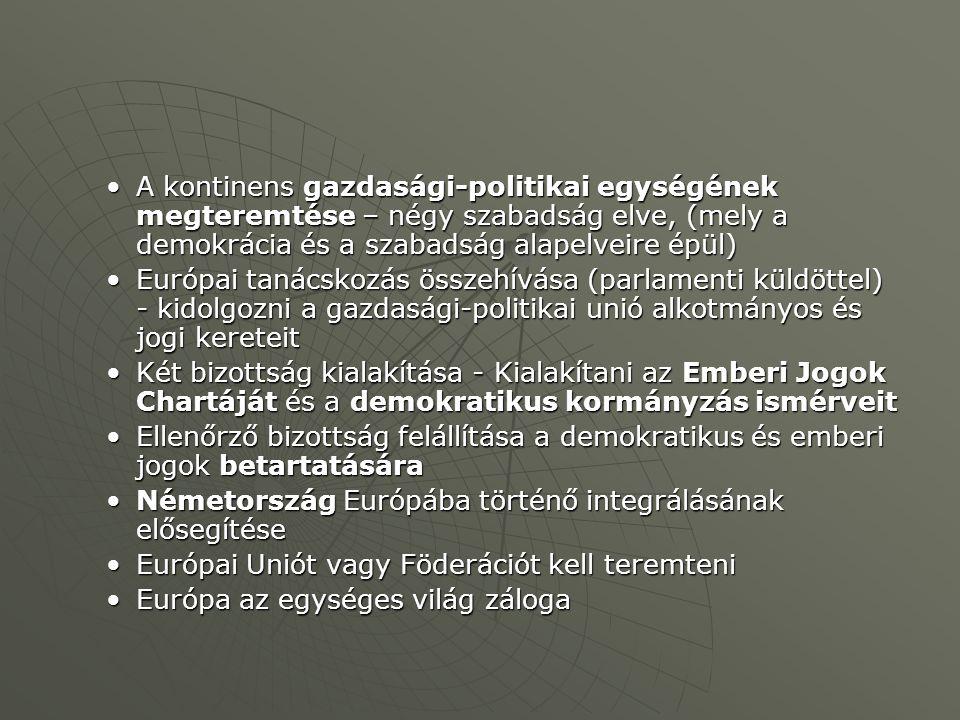 A kontinens gazdasági-politikai egységének megteremtése – négy szabadság elve, (mely a demokrácia és a szabadság alapelveire épül)A kontinens gazdasági-politikai egységének megteremtése – négy szabadság elve, (mely a demokrácia és a szabadság alapelveire épül) Európai tanácskozás összehívása (parlamenti küldöttel) - kidolgozni a gazdasági-politikai unió alkotmányos és jogi kereteitEurópai tanácskozás összehívása (parlamenti küldöttel) - kidolgozni a gazdasági-politikai unió alkotmányos és jogi kereteit Két bizottság kialakítása - Kialakítani az Emberi Jogok Chartáját és a demokratikus kormányzás ismérveitKét bizottság kialakítása - Kialakítani az Emberi Jogok Chartáját és a demokratikus kormányzás ismérveit Ellenőrző bizottság felállítása a demokratikus és emberi jogok betartatásáraEllenőrző bizottság felállítása a demokratikus és emberi jogok betartatására Németország Európába történő integrálásának elősegítéseNémetország Európába történő integrálásának elősegítése Európai Uniót vagy Föderációt kell teremteniEurópai Uniót vagy Föderációt kell teremteni Európa az egységes világ zálogaEurópa az egységes világ záloga