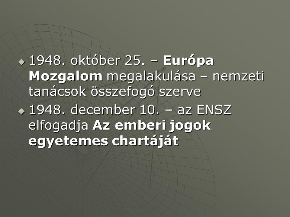  1948. október 25. – Európa Mozgalom megalakulása – nemzeti tanácsok összefogó szerve  1948.