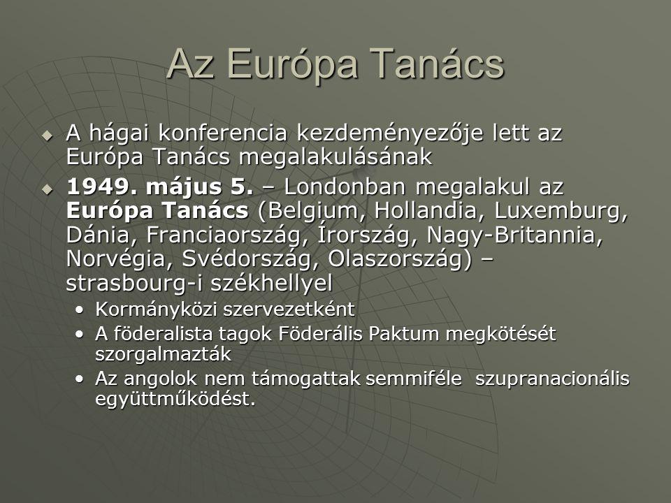 Az Európa Tanács  A hágai konferencia kezdeményezője lett az Európa Tanács megalakulásának  1949.