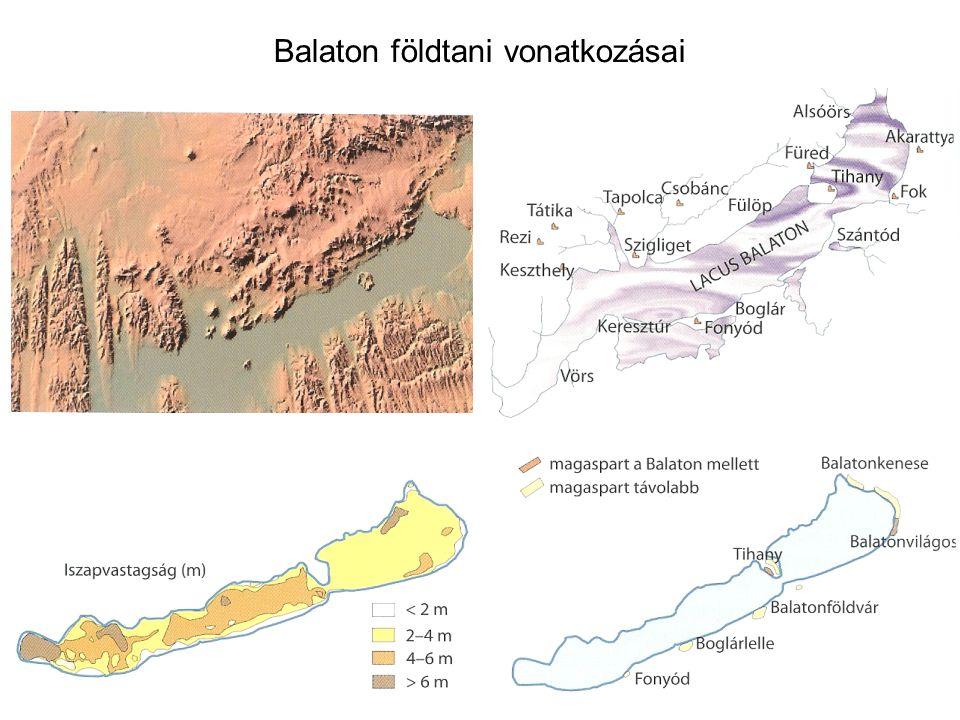 negyedkor 2 millió éve tartó időszak pleisztocén –jégkorszaki lösz (Dunántúli medence, Alföld) –futó homok (Alföld) –durva folyami hordalékok (Kisalföld) holocén –futó homokok (Alföld) –folyami hordalékok (nagy folyók mentén) –öntéstalajok, tőzegek (kisebb folyók mentén) szárazföldi viszonyok közt szélhordta és folyami üledékképződés