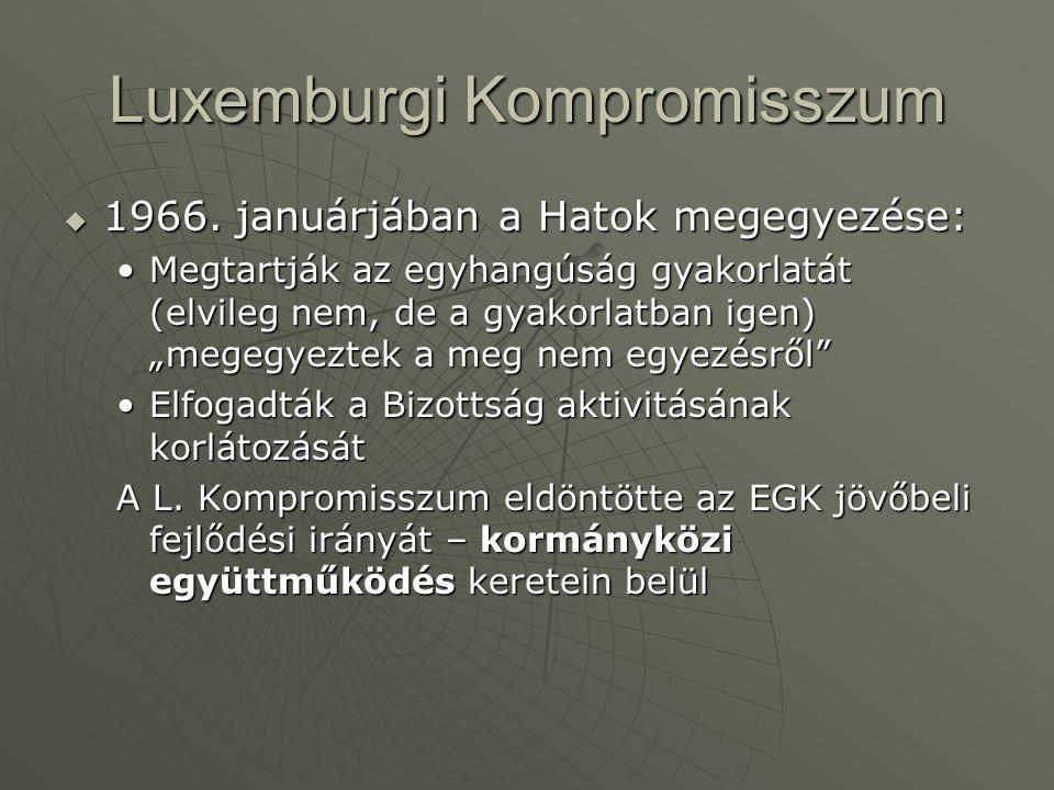 """Luxemburgi Kompromisszum  1966. januárjában a Hatok megegyezése: Megtartják az egyhangúság gyakorlatát (elvileg nem, de a gyakorlatban igen) """"megegye"""