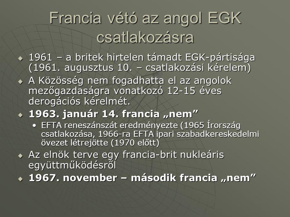 Francia vétó az angol EGK csatlakozásra  1961 – a britek hirtelen támadt EGK-pártisága (1961. augusztus 10. – csatlakozási kérelem)  A Közösség nem