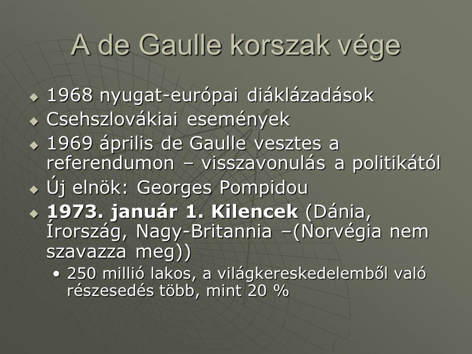 A de Gaulle korszak vége  1968 nyugat-európai diáklázadások  Csehszlovákiai események  1969 április de Gaulle vesztes a referendumon – visszavonulá