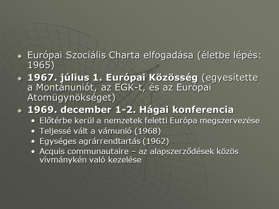  Európai Szociális Charta elfogadása (életbe lépés: 1965)  1967. július 1. Európai Közösség (egyesítette a Montánuniót, az EGK-t, és az Európai Atom