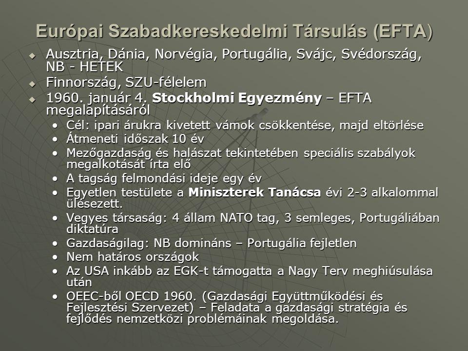 Európai Szabadkereskedelmi Társulás (EFTA)  Ausztria, Dánia, Norvégia, Portugália, Svájc, Svédország, NB - HETEK  Finnország, SZU-félelem  1960. ja