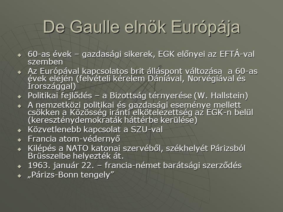 De Gaulle elnök Európája  60-as évek – gazdasági sikerek, EGK előnyei az EFTÁ-val szemben  Az Európával kapcsolatos brit álláspont változása a 60-as