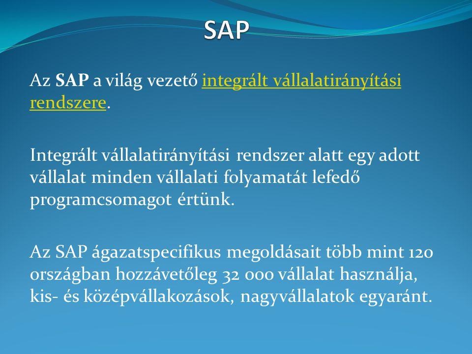 Az SAP a világ vezető integrált vállalatirányítási rendszere.integrált vállalatirányítási rendszere Integrált vállalatirányítási rendszer alatt egy ad