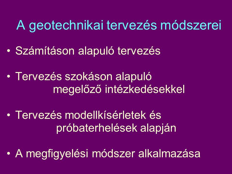 A geotechnikai tervezés módszerei Számításon alapuló tervezés Tervezés szokáson alapuló megelőző intézkedésekkel Tervezés modellkísérletek és próbaterhelések alapján A megfigyelési módszer alkalmazása