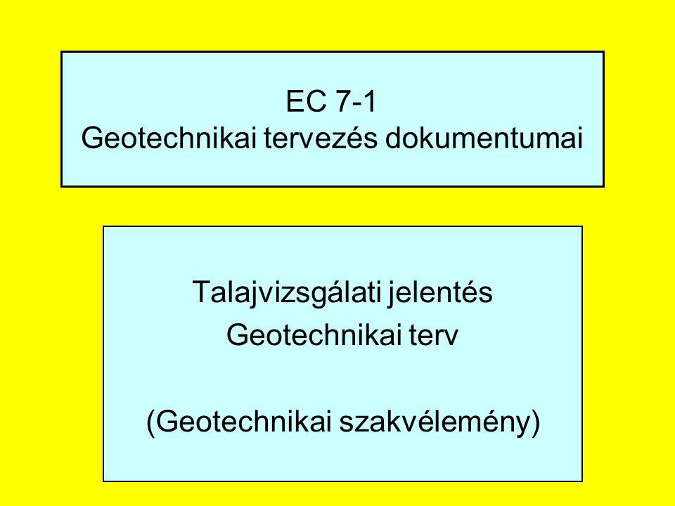 EC 7-1 Geotechnikai tervezés dokumentumai Talajvizsgálati jelentés Geotechnikai terv (Geotechnikai szakvélemény)