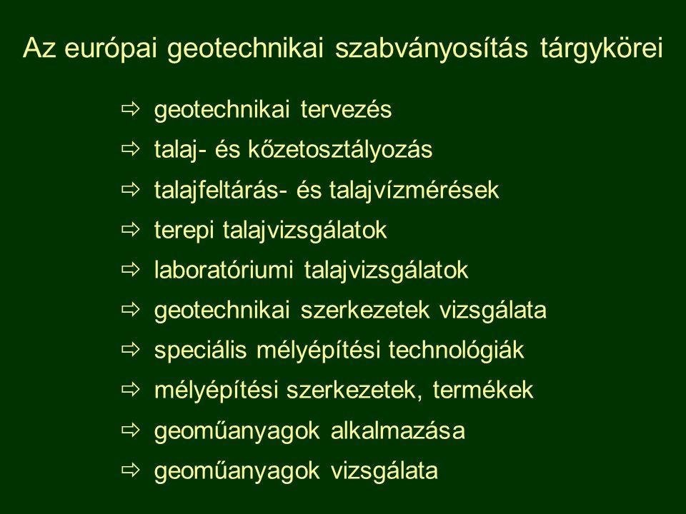 Az európai geotechnikai szabványosítás tárgykörei  geotechnikai tervezés  talaj- és kőzetosztályozás  talajfeltárás- és talajvízmérések  terepi talajvizsgálatok  laboratóriumi talajvizsgálatok  geotechnikai szerkezetek vizsgálata  speciális mélyépítési technológiák  mélyépítési szerkezetek, termékek  geoműanyagok alkalmazása  geoműanyagok vizsgálata