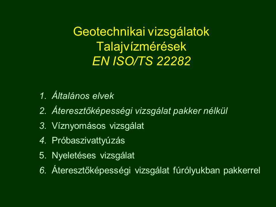 Geotechnikai vizsgálatok Talajvízmérések EN ISO/TS 22282 1.