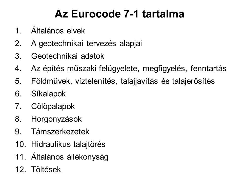 Az Eurocode 7-1 tartalma 1.Általános elvek 2. A geotechnikai tervezés alapjai 3.