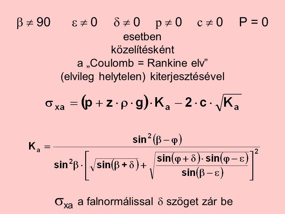 """ 90  0  0 p  0 c  0P = 0 esetben közelítésként a """"Coulomb = Rankine elv (elvileg helytelen) kiterjesztésével  xa a falnormálissal  szöget zár be"""