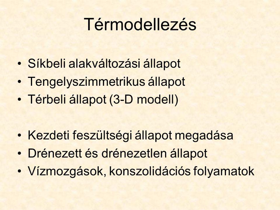 Térmodellezés Síkbeli alakváltozási állapot Tengelyszimmetrikus állapot Térbeli állapot (3-D modell) Kezdeti feszültségi állapot megadása Drénezett és