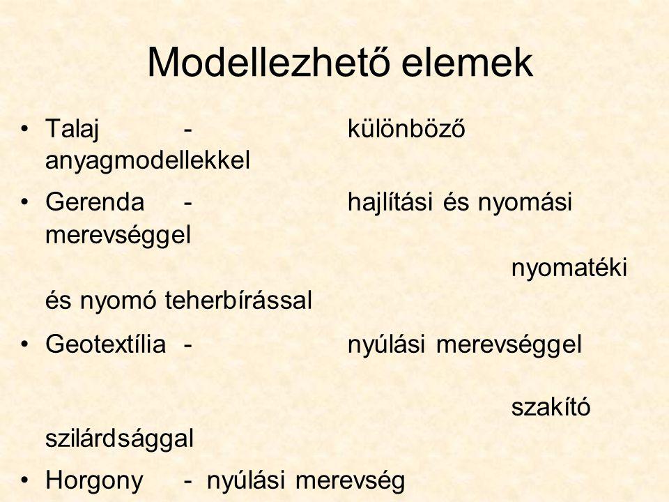 Modellezhető elemek Talaj-különböző anyagmodellekkel Gerenda-hajlítási és nyomási merevséggel nyomatéki és nyomó teherbírással Geotextília -nyúlási me