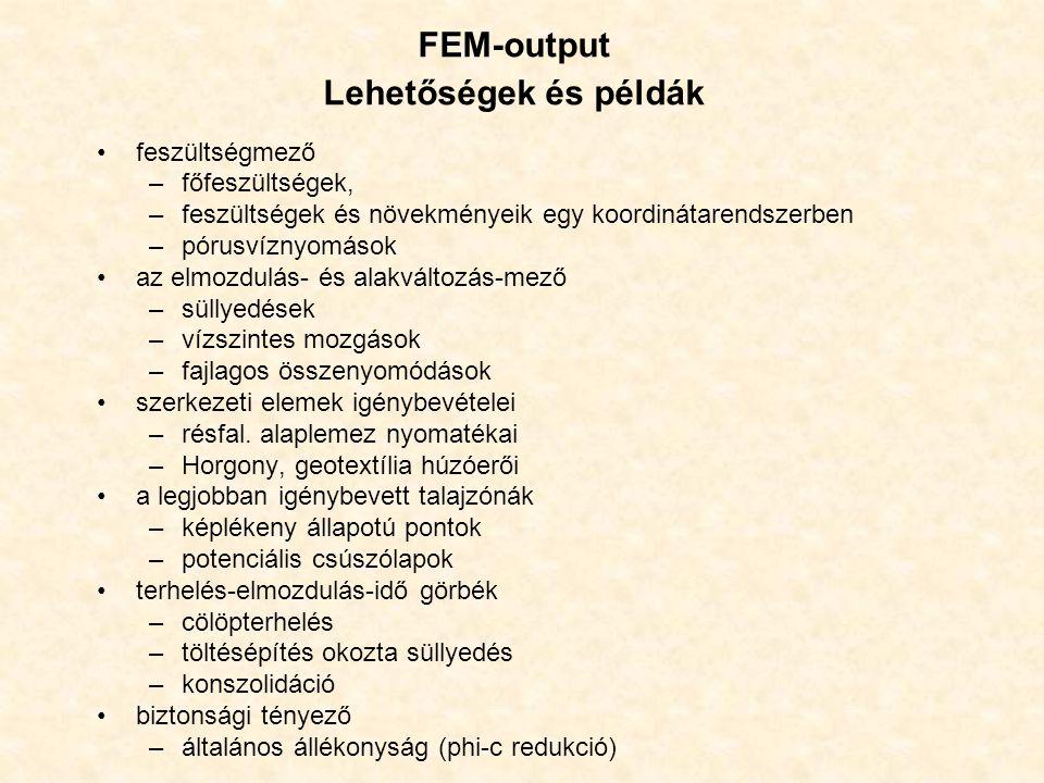 FEM-output Lehetőségek és példák feszültségmező –főfeszültségek, –feszültségek és növekményeik egy koordinátarendszerben –pórusvíznyomások az elmozdul
