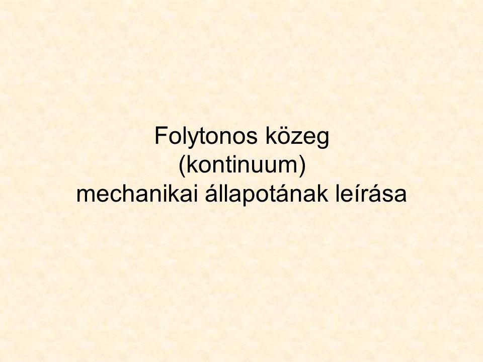 Egy pont mechanikai állapotjellemzői és egyenletek 3 normál- és 3 nyíró- feszültség a hasáb oldalain  x  y  z  xy  yz  zx 3 fajlagos nyúlás és 3 szög-torzulás a hasáb deformációi  x  y  z  xy  yz  zx 3 eltolódás a pont elmozdu-lásvektorának komponensei u x u y u z.