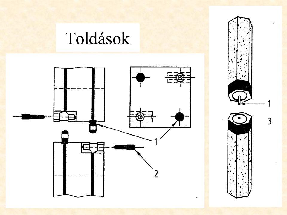 CÖLÖPTEST KÉSZÍTÉSE BETONBEVITEL gravitációsan vagy pneumatikusan betonozó tölcséren vagy fúrószáron keresztül BETONTÖMÖRÍTÉS csömöszölés döngölővel v.csővisszaveréssel vibráció merülő vibrátorral v.