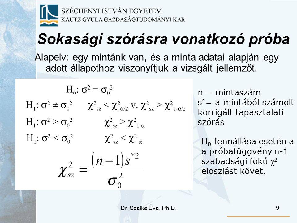 Dr. Szalka Éva, Ph.D.9 Sokasági szórásra vonatkozó próba Alapelv: egy mintánk van, és a minta adatai alapján egy adott állapothoz viszonyítjuk a vizsg