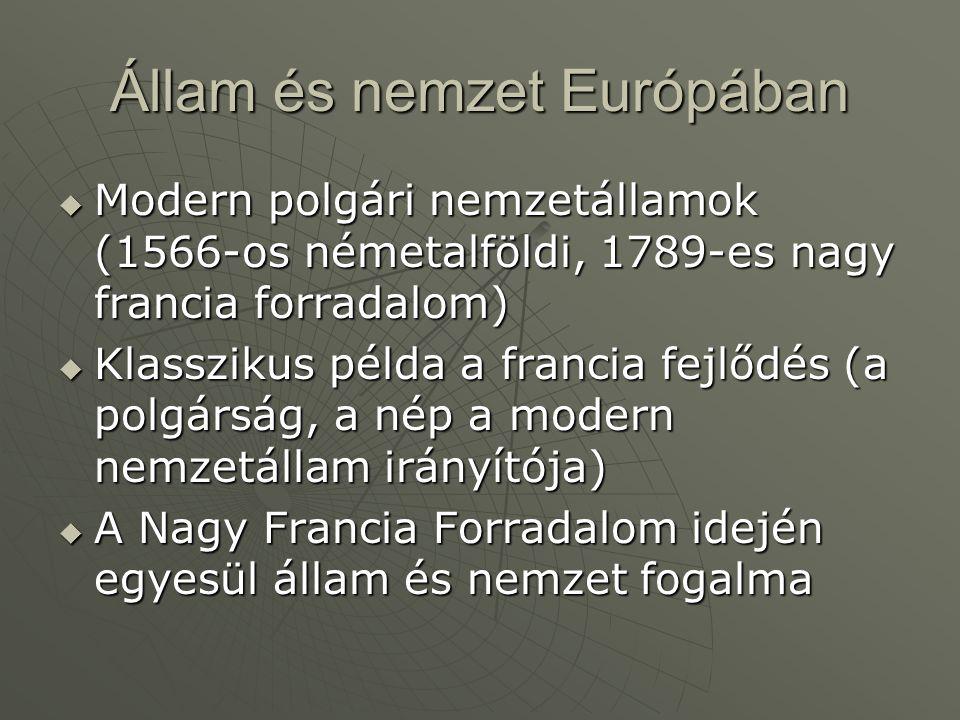 Állam és nemzet Európában  Modern polgári nemzetállamok (1566-os németalföldi, 1789-es nagy francia forradalom)  Klasszikus példa a francia fejlődés