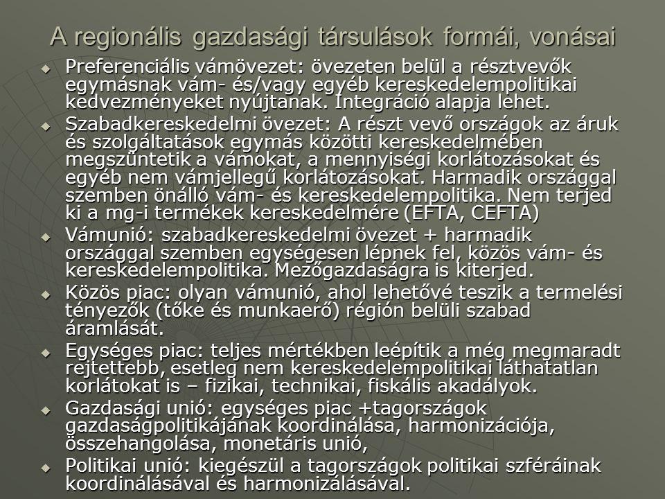 A regionális gazdasági társulások formái, vonásai  Preferenciális vámövezet: övezeten belül a résztvevők egymásnak vám- és/vagy egyéb kereskedelempol