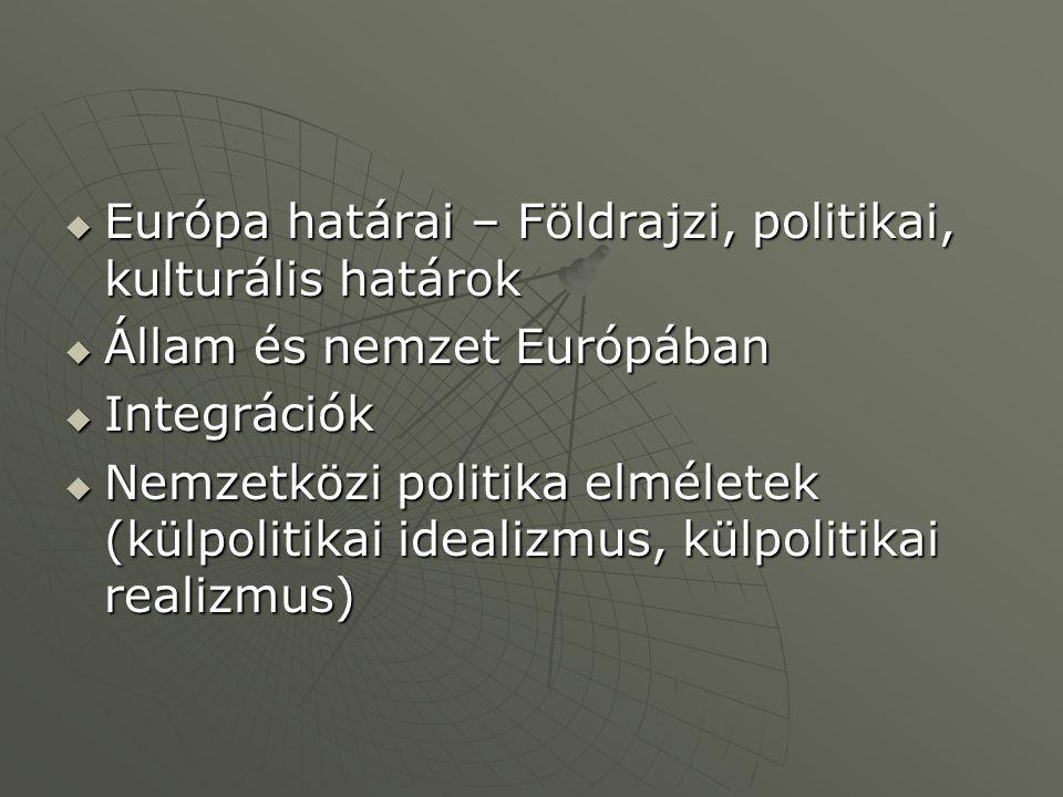  Európa határai – Földrajzi, politikai, kulturális határok  Állam és nemzet Európában  Integrációk  Nemzetközi politika elméletek (külpolitikai id