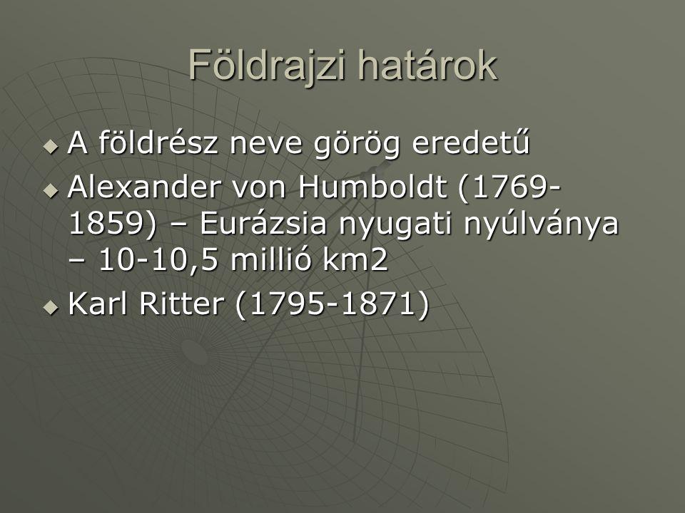 Földrajzi határok  A földrész neve görög eredetű  Alexander von Humboldt (1769- 1859) – Eurázsia nyugati nyúlványa – 10-10,5 millió km2  Karl Ritte