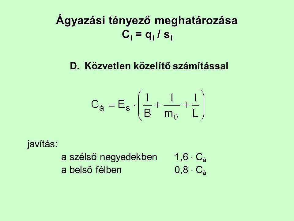 Ágyazási tényező meghatározása C i = q i / s i D.Közvetlen közelítő számítással javítás: a szélső negyedekben 1,6 · C á a belső félben 0,8 · C á