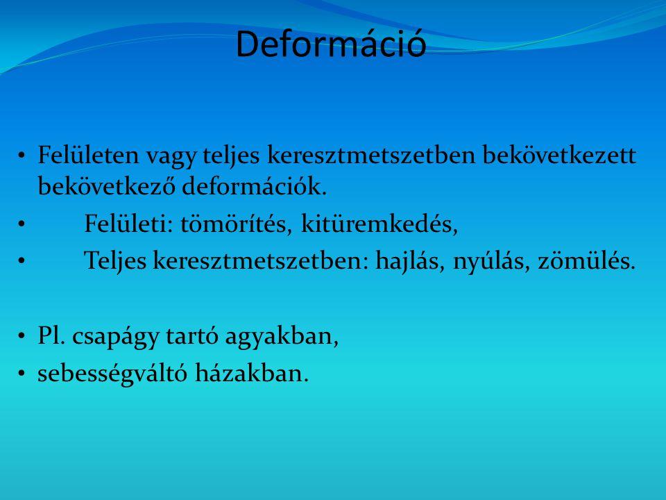 Deformáció Felületen vagy teljes keresztmetszetben bekövetkezett bekövetkező deformációk.