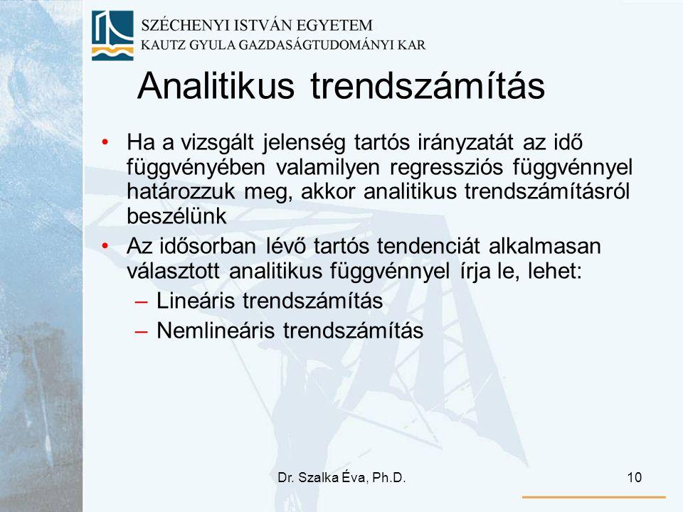 Dr. Szalka Éva, Ph.D.10 Analitikus trendszámítás Ha a vizsgált jelenség tartós irányzatát az idő függvényében valamilyen regressziós függvénnyel határ