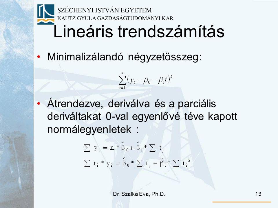 Dr. Szalka Éva, Ph.D.13 Lineáris trendszámítás Minimalizálandó négyzetösszeg: Átrendezve, deriválva és a parciális deriváltakat 0-val egyenlővé téve k