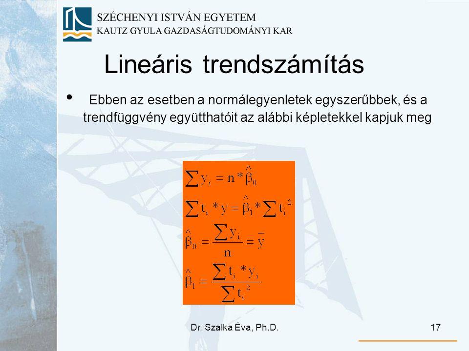 Dr. Szalka Éva, Ph.D.17 Lineáris trendszámítás Ebben az esetben a normálegyenletek egyszerűbbek, és a trendfüggvény együtthatóit az alábbi képletekkel