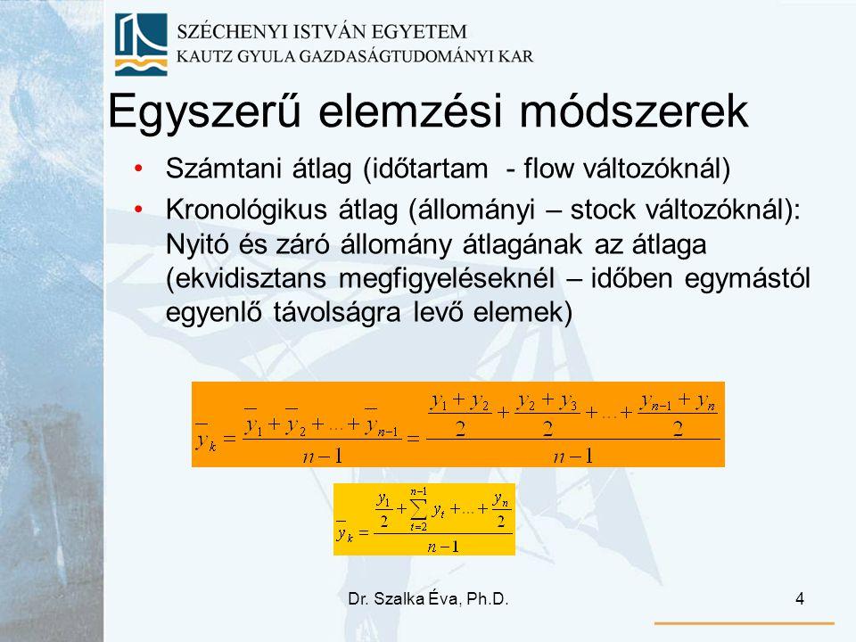 Dr. Szalka Éva, Ph.D.4 Egyszerű elemzési módszerek Számtani átlag (időtartam - flow változóknál) Kronológikus átlag (állományi – stock változóknál): N