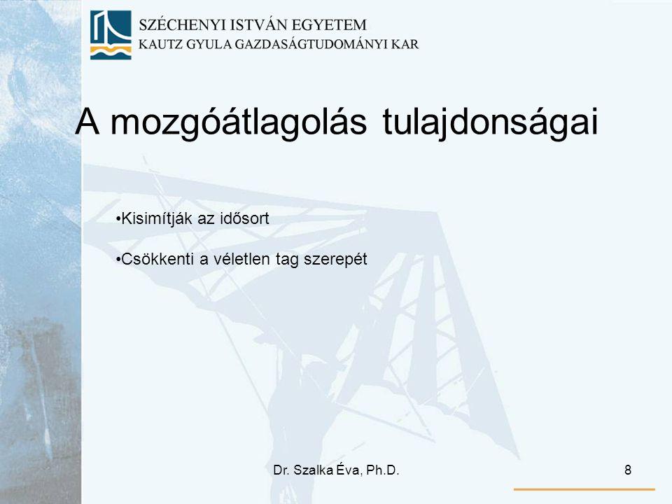 Dr. Szalka Éva, Ph.D.8 A mozgóátlagolás tulajdonságai Kisimítják az idősort Csökkenti a véletlen tag szerepét