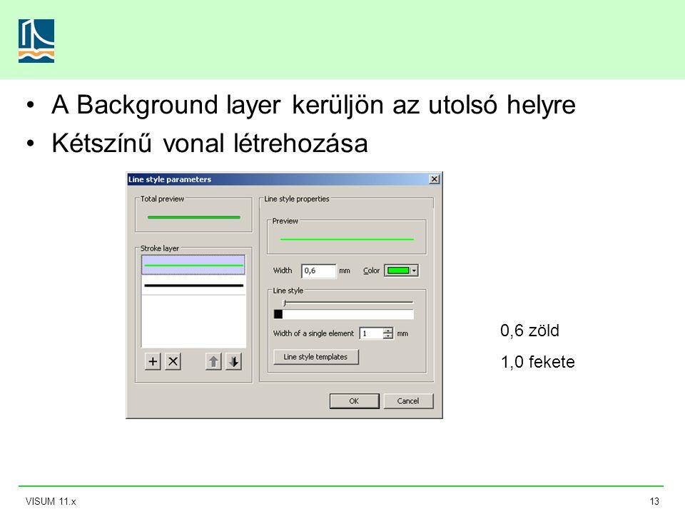 VISUM 11.x13 A Background layer kerüljön az utolsó helyre Kétszínű vonal létrehozása 0,6 zöld 1,0 fekete