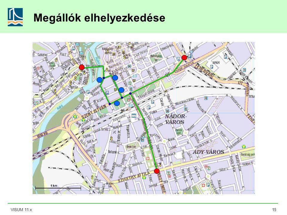 VISUM 11.x15 Megállók elhelyezkedése