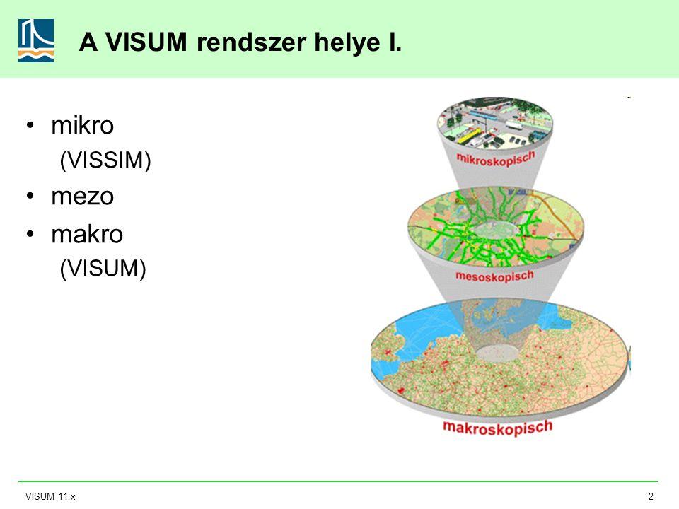 VISUM 11.x3 A VISUM rendszer helye II.
