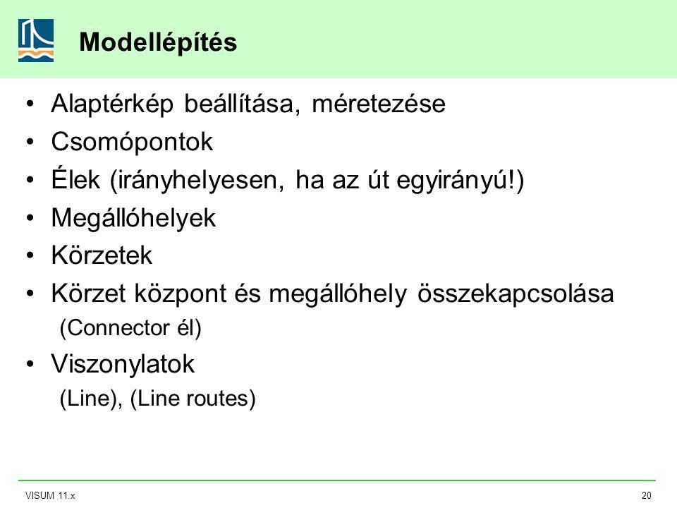 VISUM 11.x20 Modellépítés Alaptérkép beállítása, méretezése Csomópontok Élek (irányhelyesen, ha az út egyirányú!) Megállóhelyek Körzetek Körzet közpon