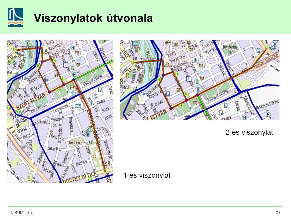 VISUM 11.x21 Viszonylatok útvonala 2-es viszonylat 1-es viszonylat